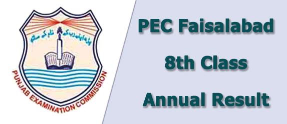 PEC Faisalabad Board 8th Class Result