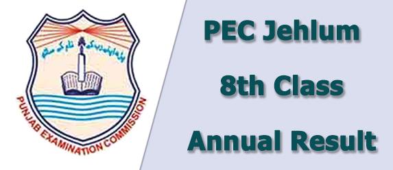 PEC Jehlum Board 8th Class Result