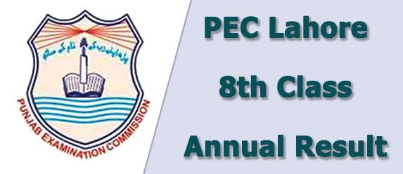 PEC Lahore Board 8th Class Result