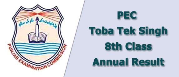PEC Toba Tek Singh Board 8th Class Result