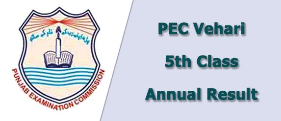 pec Vehari board 5th class result 2019